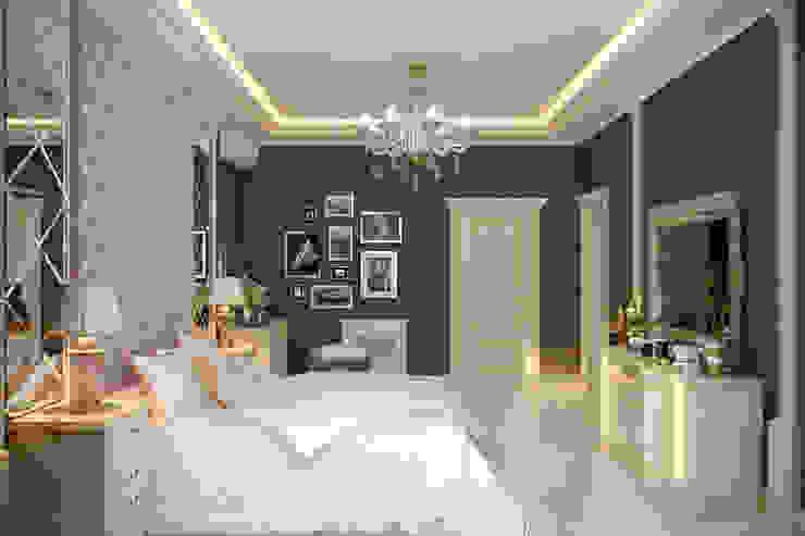 """Дизайн спальни в классическом стиле в квартире в ЖК """"Ливанский дом"""", г.Краснодар Спальня в классическом стиле от Студия интерьерного дизайна happy.design Классический"""