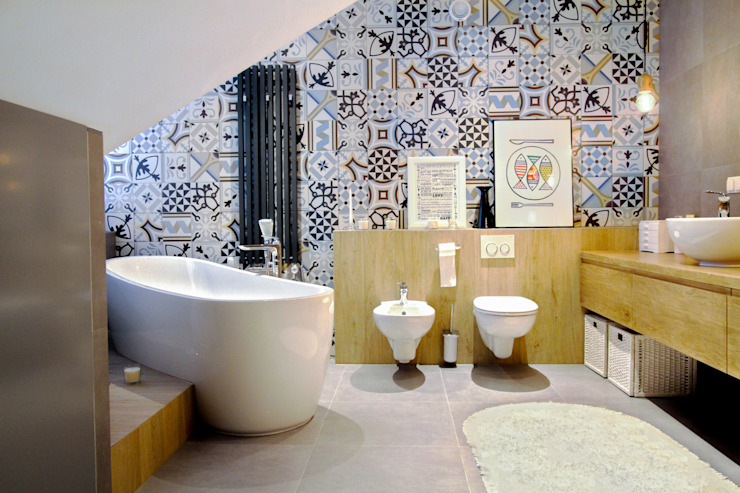 MOTHI.form Scandinavian style bathroom Wood Grey