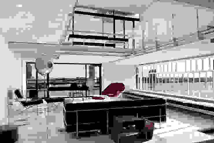 Living Room- Historic Preservation - Paul Rudolph Estate Modern Living Room by Joe Ginsberg Design Modern