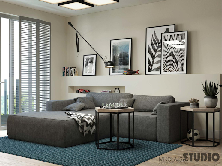 Living room by MIKOLAJSKAstudio, Modern