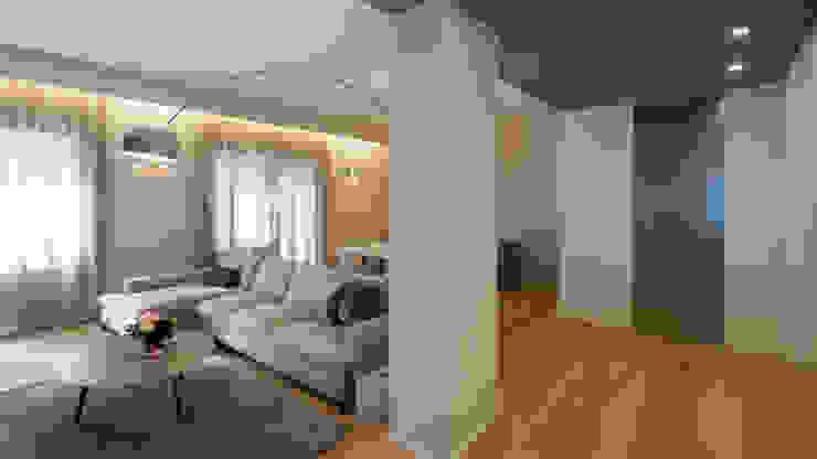 现代客厅設計點子、靈感 & 圖片 根據 Archifacturing 現代風 木頭 Wood effect
