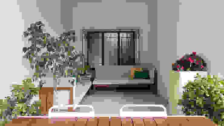 Nowoczesny balkon, taras i weranda od Archifacturing Nowoczesny Lite drewno Wielokolorowy