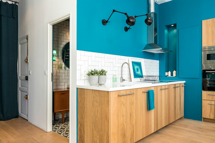 Insides Eclectic style kitchen Wood Blue