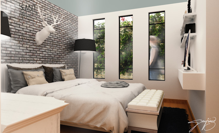 Recamara Principal Dormitorios minimalistas de SANT1AGO arquitectura y diseño Minimalista Ladrillos