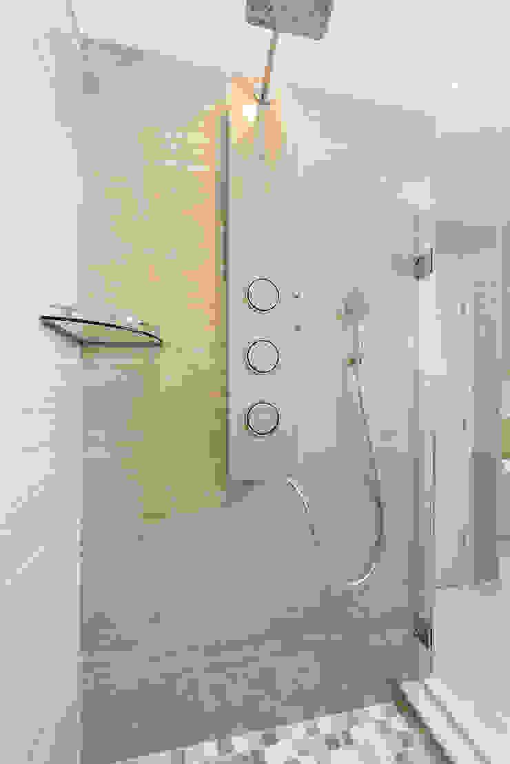 Master Bathroom Shower with Integrated Porcelanossa shower module HOMEREDI Modern Bathroom Metal Beige