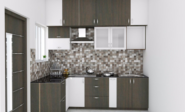 Modular Kitchen with Loft ServiceBELL Solutions PVT Ltd KitchenCabinets & shelves Plywood Brown