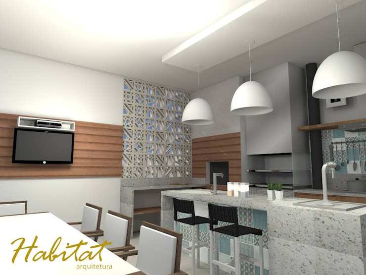 Habitat arquitetura Cocinas de estilo moderno Cerámico Turquesa