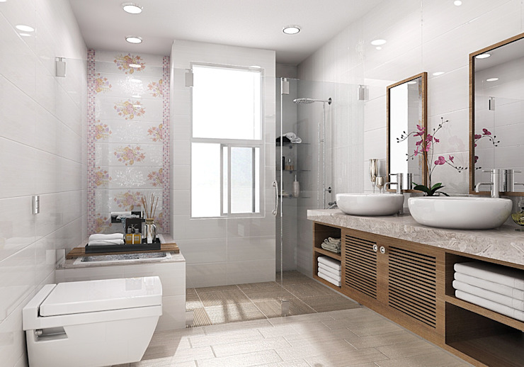 Country style bathrooms by homify Country Tiles