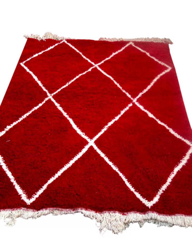 RED BENI OURAIN RUG: country  by BOHOZOO,Country Wool Orange
