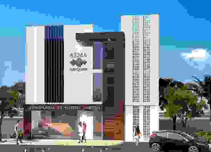 OFICINAS AEMA Oficinas y tiendas de estilo moderno de PROYECTARQ ARQUITECTOS Moderno Hormigón