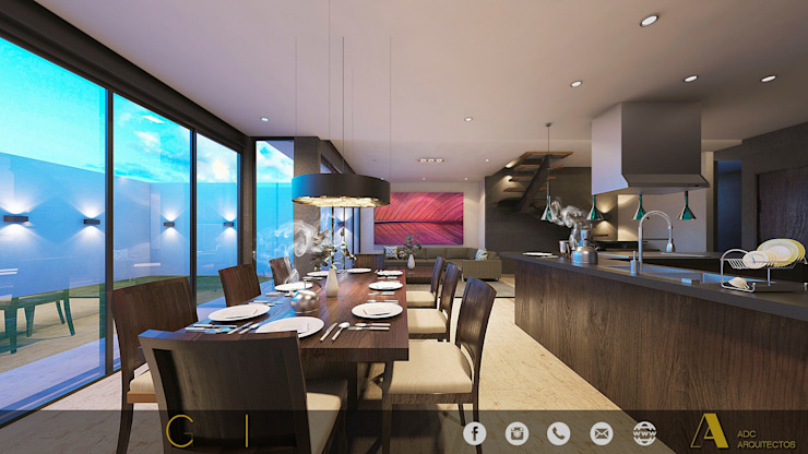 PROYECTO GI/L21/M55/AMORADA/MEX Comedores modernos de ADC arquitectos Moderno