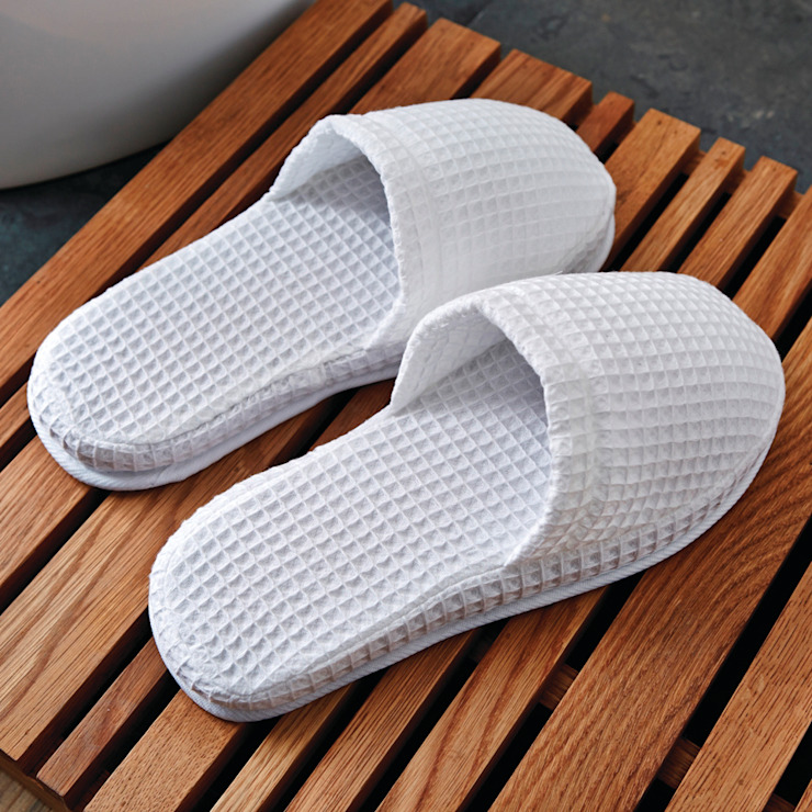 LUXURY WAFFLE WEAVE SLIPPERS King of Cotton BathroomTextiles & accessories Cotton White