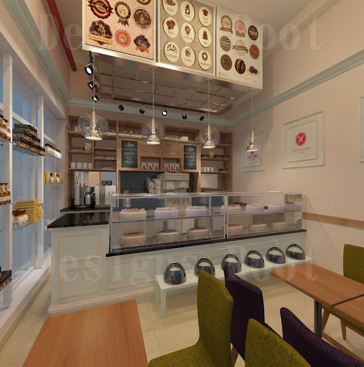 modren interior designs bakery shop by Designs Root Modern Bricks