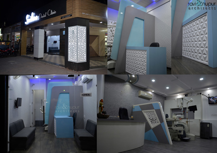 Smiline Dental Clinic Modern study/office by RAVI - NUPUR ARCHITECTS Modern Glass