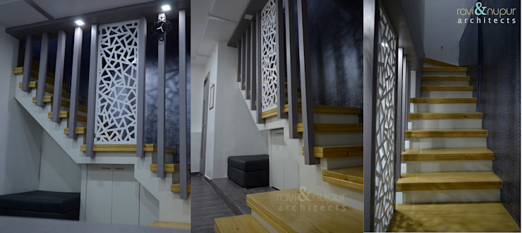Smiline Dental Clinic Modern corridor, hallway & stairs by RAVI - NUPUR ARCHITECTS Modern Wood Wood effect