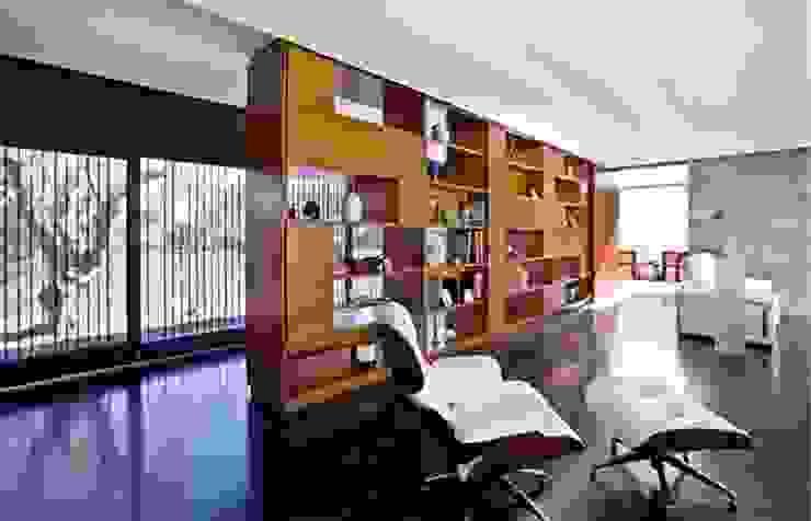 Salon dividido por una estanteria a medida, para separa el pasillo hacia la cocina Grupo Procelco, s.l. Salones de estilo moderno