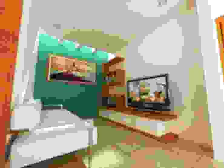 AREA DE TELEVISION Salas multimedia minimalistas de DLR ARQUITECTURA/ DLR DISEÑO EN MADERA Minimalista