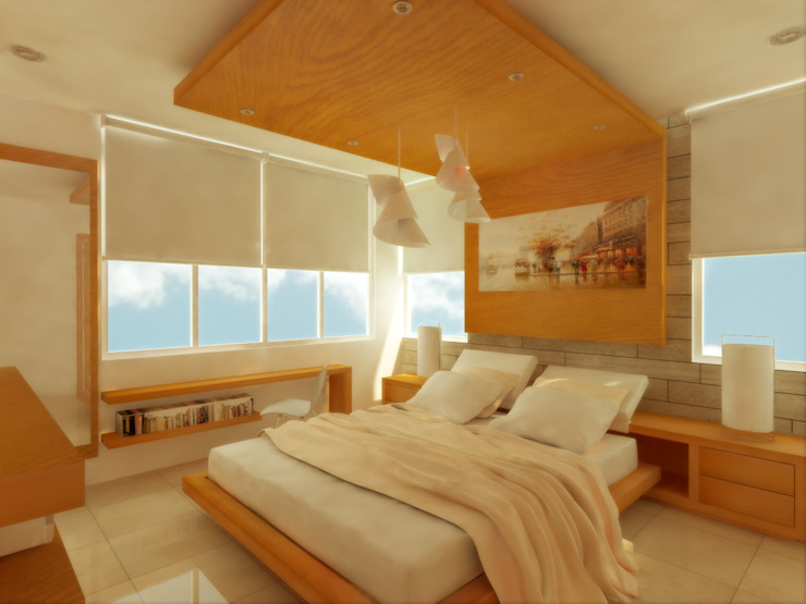 Phòng ngủ phong cách tối giản bởi DLR ARQUITECTURA/ DLR DISEÑO EN MADERA Tối giản Gỗ Wood effect