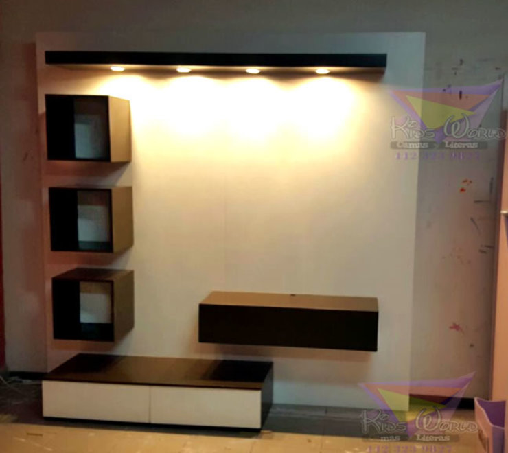 Practico mueble multifuncional blanco con chocolate de camas y literas infantiles kids world Moderno Derivados de madera Transparente