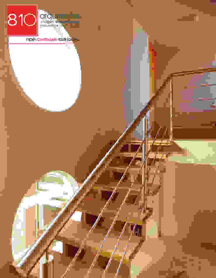 Casa Habitación y Notaria Parroquial Pasillos, vestíbulos y escaleras modernos de 810 Arquitectos Moderno