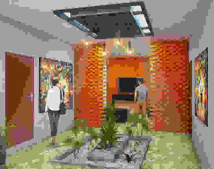 Vestíbulo área privada Pasillos, vestíbulos y escaleras de estilo moderno de LOFT ESTUDIO arquitectura y diseño Moderno Ladrillos