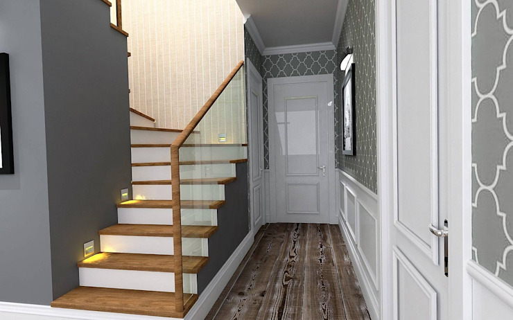 Country style corridor, hallway& stairs by Murat Aksel Architecture Country Wood Wood effect