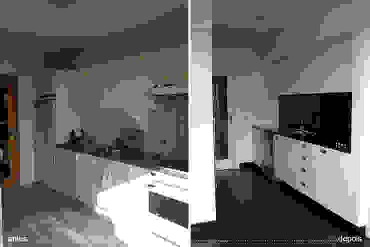 cozinha antes e depois_balcão principal por Emprofeira - empresa de projectos da Feira, Lda.