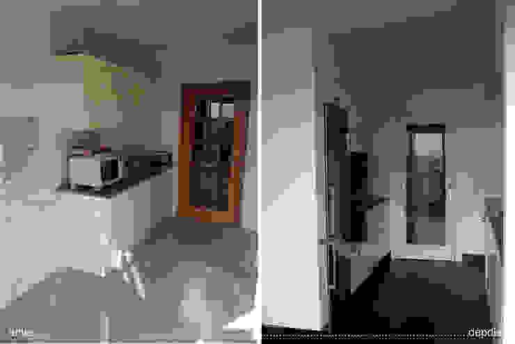 cozinha antes e depois_balcão de apoio por Emprofeira - empresa de projectos da Feira, Lda.