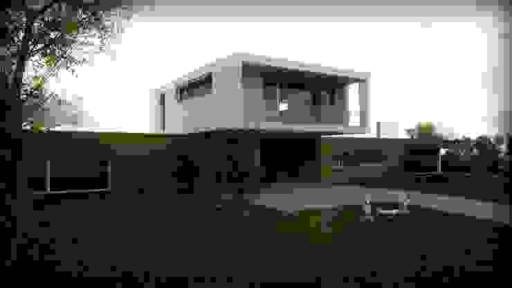 moradia_alçado sul Casas modernas por Emprofeira - empresa de projectos da Feira, Lda. Moderno Madeira Acabamento em madeira