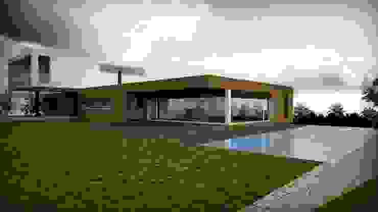 moradia_alçado sul2 Casas modernas por Emprofeira - empresa de projectos da Feira, Lda. Moderno Madeira Acabamento em madeira