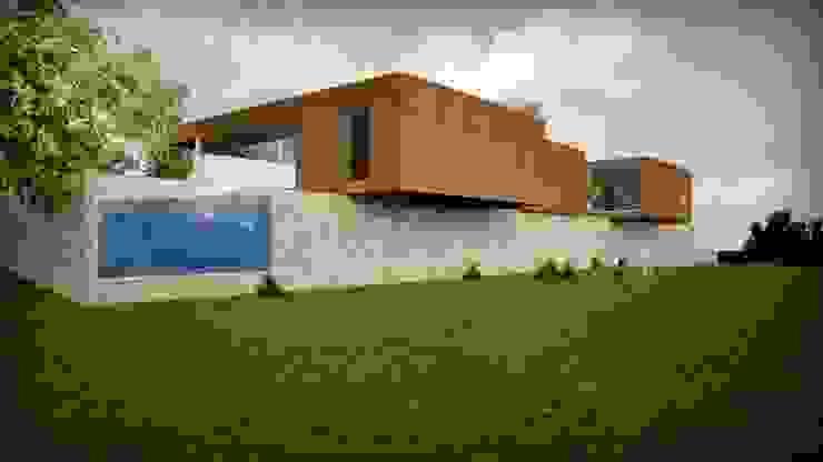 moradia_alçado norte Piscinas modernas por Emprofeira - empresa de projectos da Feira, Lda. Moderno Pedra