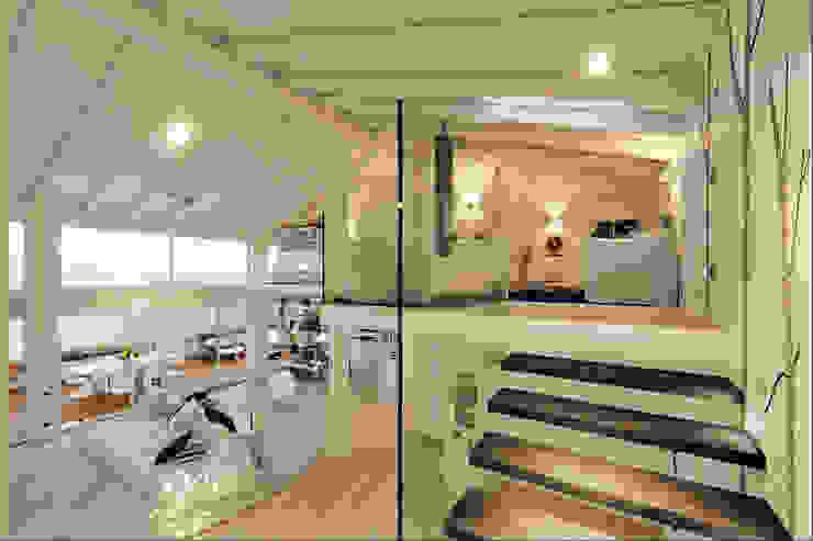 Un attico in stile loft in Milano: Ingresso & Corridoio in stile  di Annalisa Carli , Moderno Legno massello Variopinto