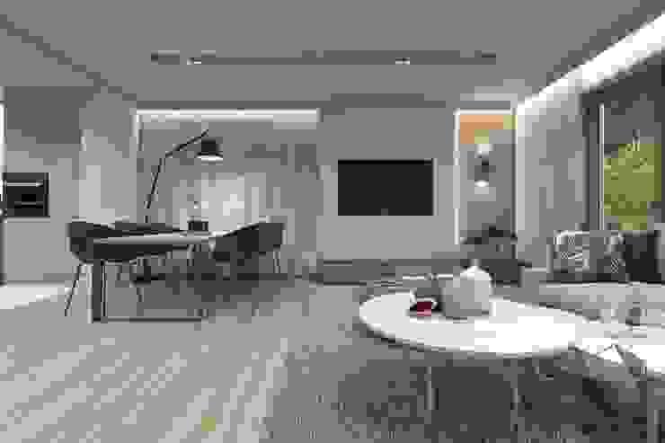 Projekt domu jednorodzinnego 12 Nowoczesny salon od BAGUA Pracownia Architektury Wnętrz Nowoczesny