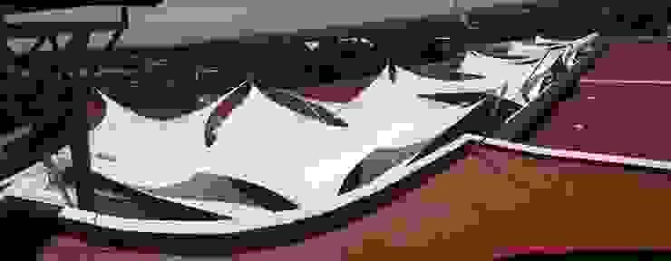 techo de lona, velaria, lonaria, tensoestructura en Puebla Casas modernas de rochen Moderno Metal