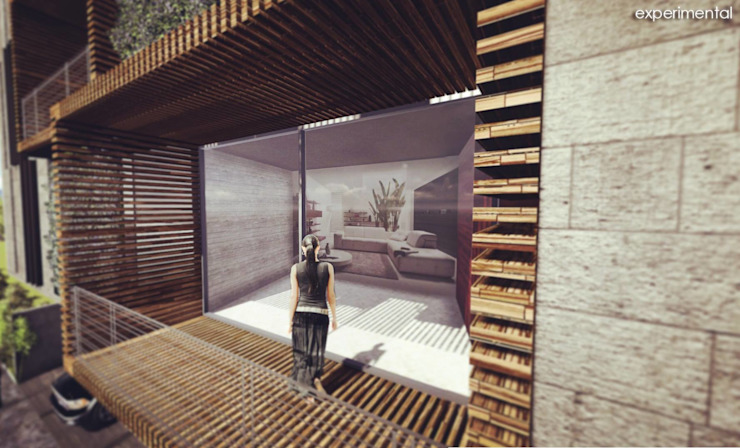 VISTA DEL AREA DE TERRAZA Casas modernas de CA ARQUITECTOS Moderno Concreto