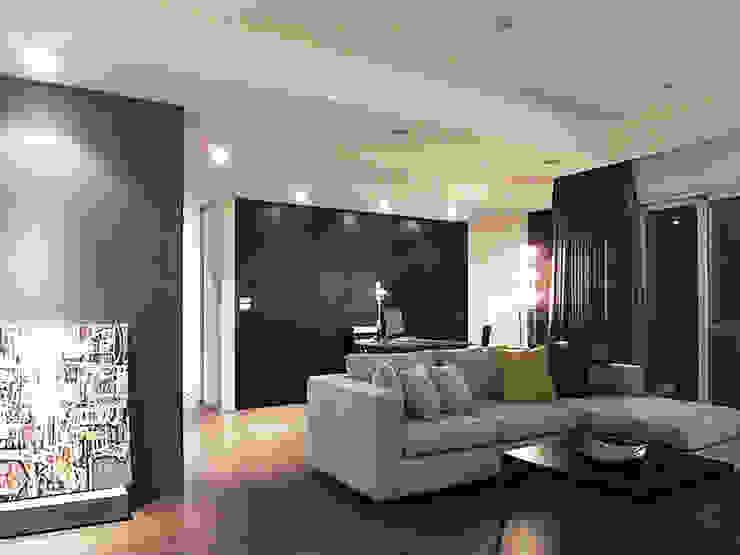 林口 瑞士花園 林宅 现代客厅設計點子、靈感 & 圖片 根據 直譯空間設計有限公司 現代風