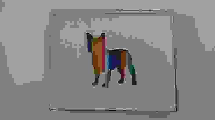 Quadro com figura de bulldog francês por Interior Vivo Eclético Madeira Acabamento em madeira