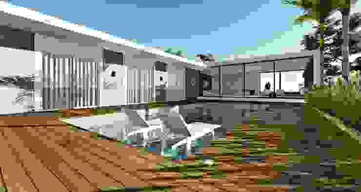 Lopes e Theisen Arquitetura Piscine minimaliste Béton Blanc