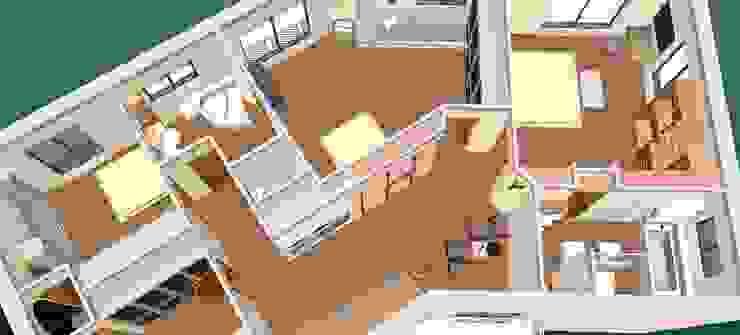 O novo plano do primeiro andar-3D2 Corredores, halls e escadas clássicos por D O M | Architecture interior Clássico