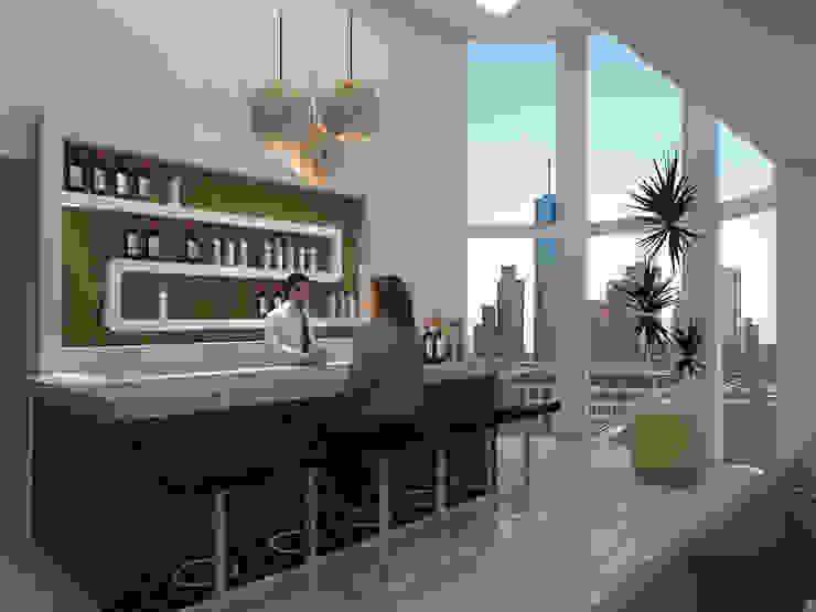 Cantina CDMX Bodegas modernas de REA + m3 Taller de Arquitectura Moderno