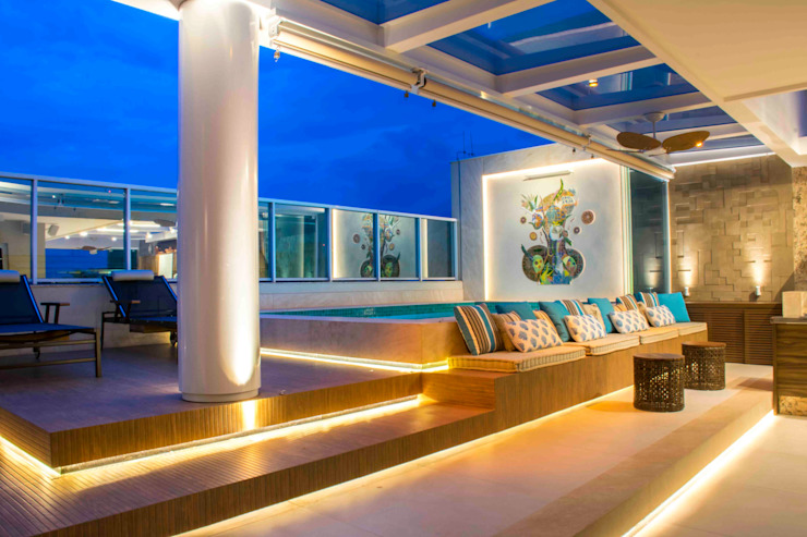 Rosset Arquitetura Balkon, Beranda & Teras Modern