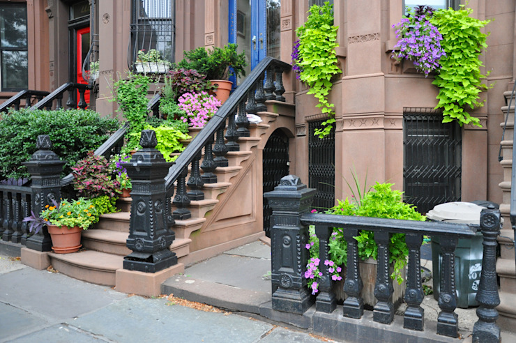 Urban Lifestyle Brooklyn New York Brownstone Entrance Steps with Summer Blooming Plants by homify