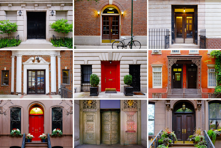 Photo collage of colorful front doors to Manhattan houses and homes. Collage of the New York city doors. Different american front entrance doors from the NYC, USA. Colorful living compilation set. by homify