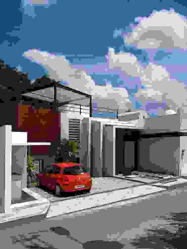 RENDER PRELIMINAR A LA OBRA SIN BARDA EXTERIOR Casas modernas de FRACTAL CORP Arquitectura Moderno