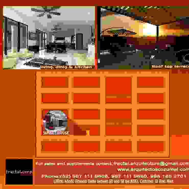 RENDERS INTERIOR Y ROOF TOP Salones modernos de FRACTAL CORP Arquitectura Moderno