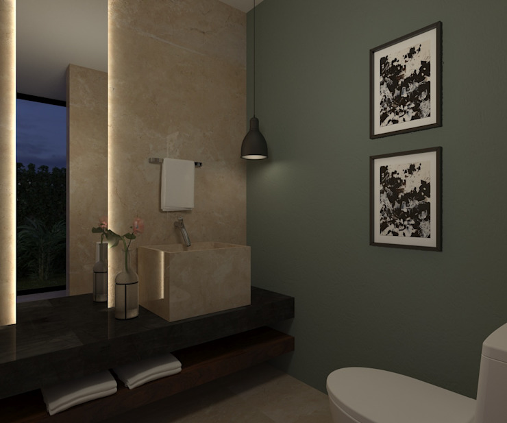 Baño de Visitas Baños modernos de Vau Studio Moderno