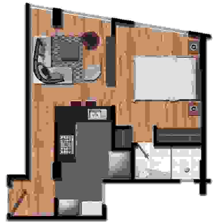 Render de un apartamento de FARIAS SAS ARQUITECTOS Moderno