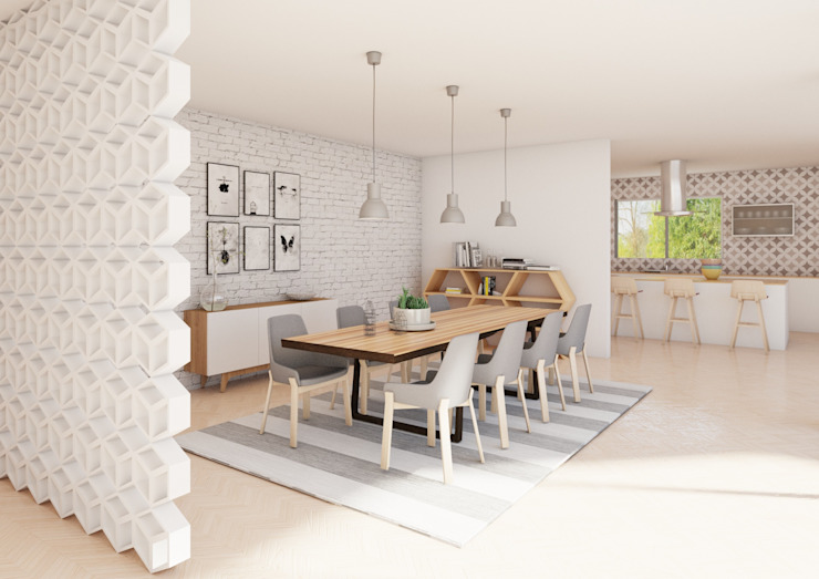 Scandinavian style dining room by Dania MStudio Scandinavian Wood Wood effect