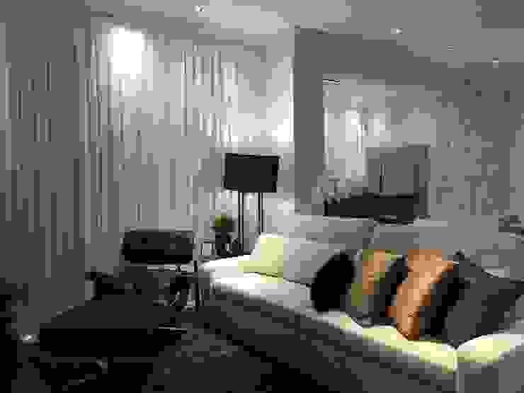 Projeto de arquitetura e interiores para área social - Clientes N&D Salas de estar minimalistas por Daniela Viana e Lilian Maravai Arquitetura Minimalista