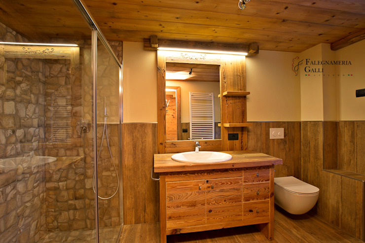 Rustic style bathroom by Falegnameria Galli Rustic